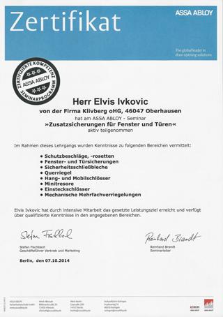 Zertifikat Assa Abloy - Schulung vom Schlüsseldienst Düsseldorf